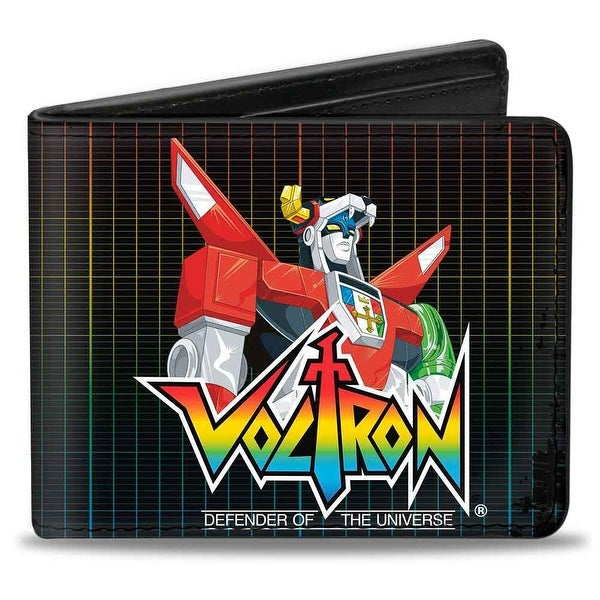 Voltron Defender Of The Universe Grid Black Multi Color Bi Fold Wallet - One Size Fits most