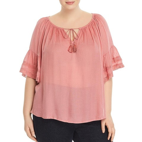 Lucky Brand Womens Plus Peasant Top Bell Sleeves Lace Trim