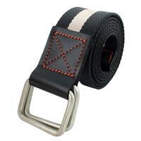 Unisex Athletic Casual Nylon Stripe Pattern Canvas Web Waist Belt Black