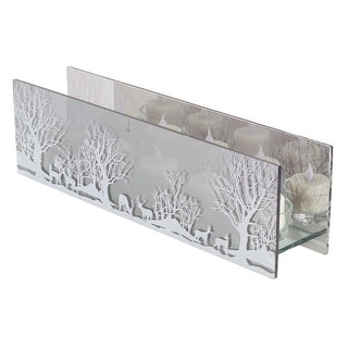 """13.75"""" Clear and White Rustic Woodland Tea Light Christmas Candle Holder - N/A"""