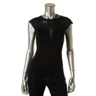 Guess Womens Ponte Faux Leather Blouse - S