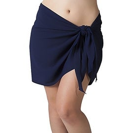 Short Plus Size Navy Swimsuit Sarong Cover Up with Built in Ties
