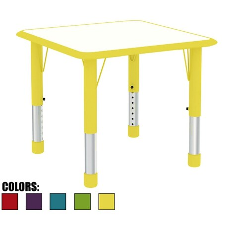 2xhome Adjustable Height Kids Table Activity Chrome Wood Square For Toddler Child Children Preschool Daycare School Kid Yellow