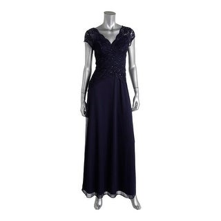 Onyx Nite Womens Cap Sleeves Full Length Evening Dress