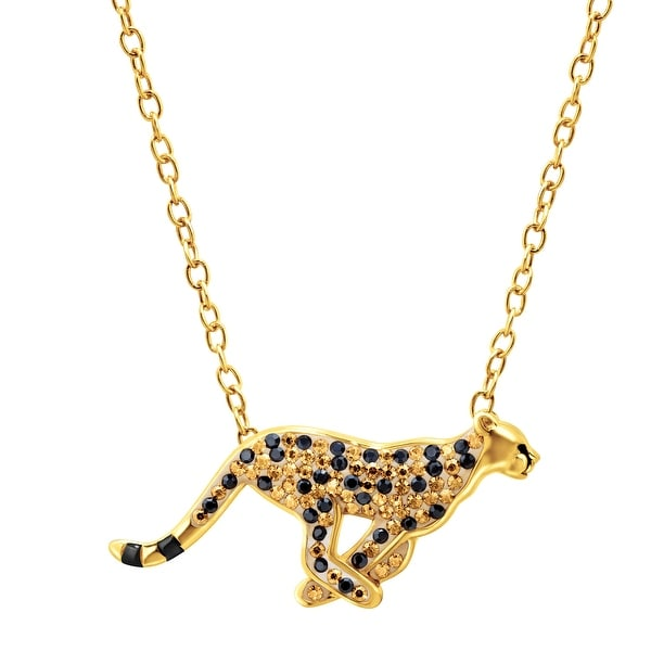 Animal Planet Cheetah Necklace with Swarovski Elements Crystals in 18K Gold-Plated Sterling Silver - Yellow