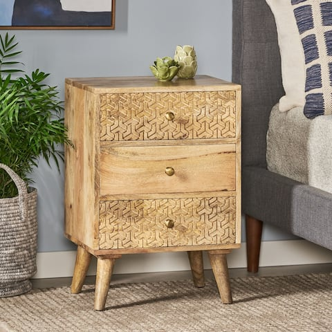 Lytle Boho Handcrafted Mango Wood 3 Drawer Nightstand by Christopher Knight Home