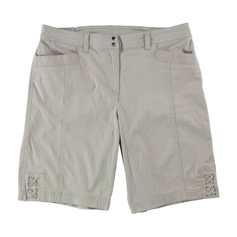 Karen Scott Womens Tie-Hem Casual Bermuda Shorts