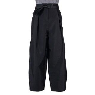 Elizabeth and James Black Silk-Blend Anderson Belted WideLeg Trouser