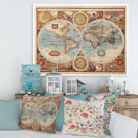 Designart 'Ancient Map of The World VIII' Vintage Canvas Wall Art Print