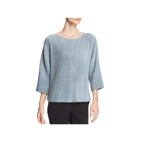Eileen Fisher Womens Pullover Sweater Sheer Ribbed - S