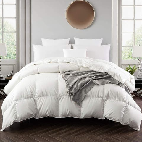 All Season 75 White Down Comforter 600FP with Baffled Box Construction