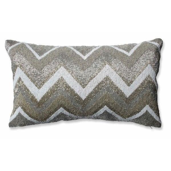 "20"" Gold, Cream and Silver Chevron Decorative Beaded Rectangular Christmas Throw Pillow"