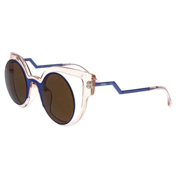 3d25914b8ec8 Shop FENDI 0137 S 0NT7- LC Blue  Transparent Brown Round Sunglasses ...