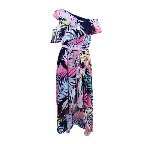 Vince Camuto Women's Asymmetrical Neck Maxi Dress - Navy/Multi