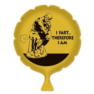 """Pack of 6 Yellow """"I Fart...Therefore I Am"""" Whoopee Cushion Party Favors 8"""""""