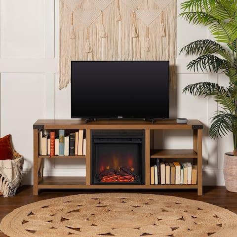 The Gray Barn Kujawa 60-inch X-Accent Fireplace TV Console