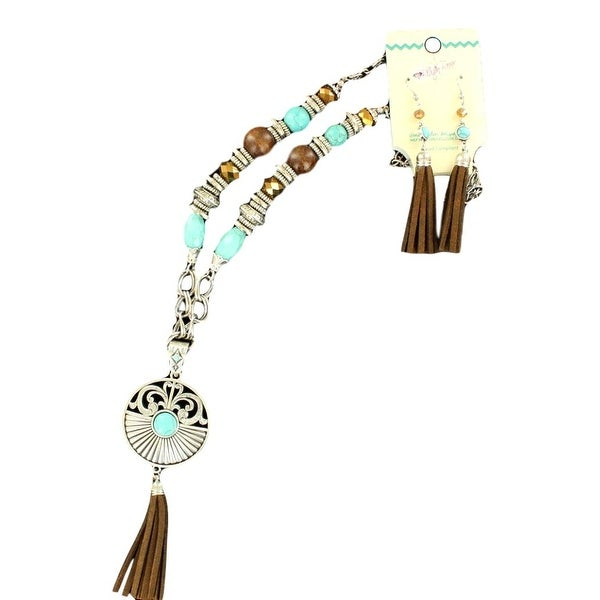 Blazin Roxx Jewelry Womens Necklace Earrings Fringe Silver Turq 29088