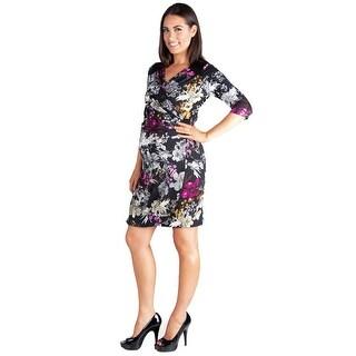 24seven Comfort Apparel Long Sleeve Maternity Wrap Dress