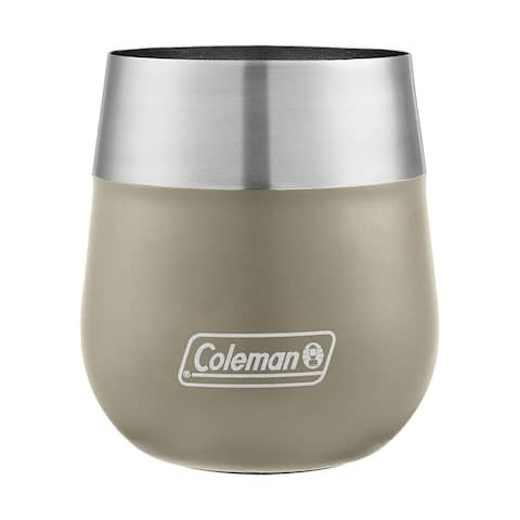 Coleman 2038464 Claret Insulated Stainless Steel Wine Glass, Sandstone, 13 oz. - Red