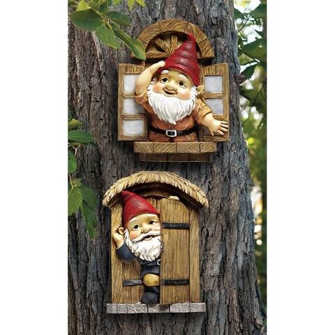Design Toscano The Knothole Gnomes Garden Welcome Tree Sculpture: Window & Door Gnomes