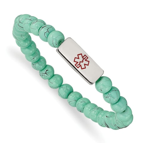 Chisel Stainless Steel High Polished Medical ID Turquoise Glass Stretch Bracelet