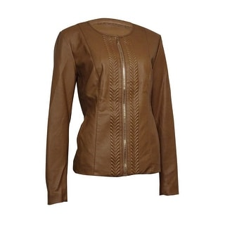 Charter Club Women's Faux-Leather Embossed Trim Jacket