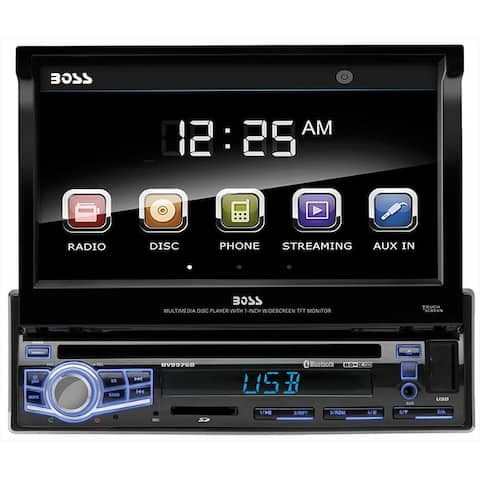 "Boss 7"" Flip-Out Single Din ReceiverBluetooth DVD/CD USB/SD Front Aux input"