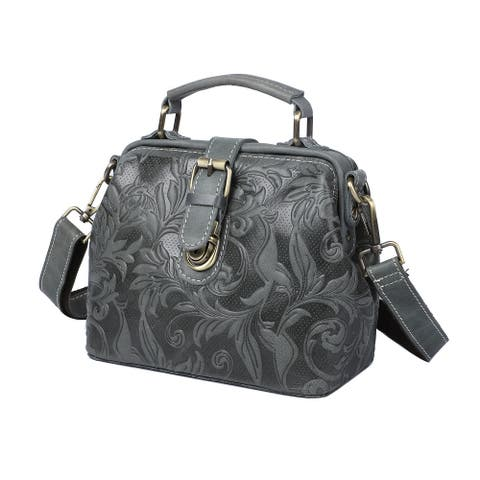 Black Leather Leaves Embossed Crossbody Bag Handle Drop Shoulder Strap - 8.27X4.33X7.09 Inches