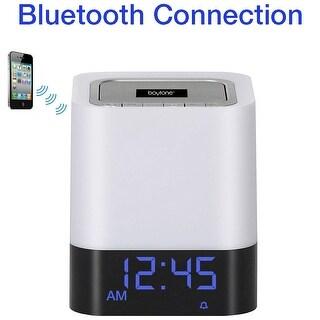 Boytone BT-84CB Portable FM clock Radio Alarm Wireless Bluetooth 4.1 Speaker, 3-Way Night Light Touch Lamp, Builtin Rechargeabl