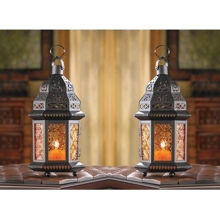 Link to Set of 2 Amber Moroccan Candle Lanterns - Orange Similar Items in Decorative Accessories