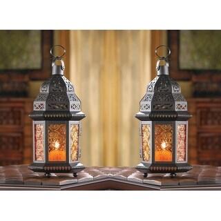 Set of 2 Amber Moroccan Candle Lanterns