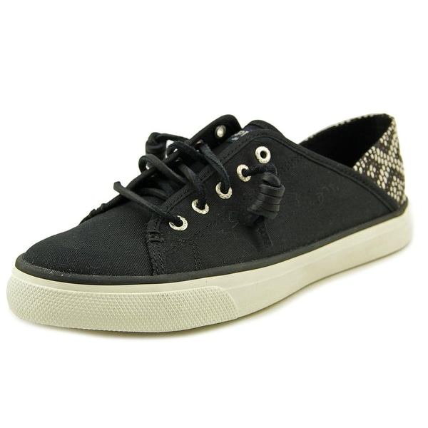 Sperry Top Sider Seacoast Crosshatch Women   Canvas Black Fashion Sneakers