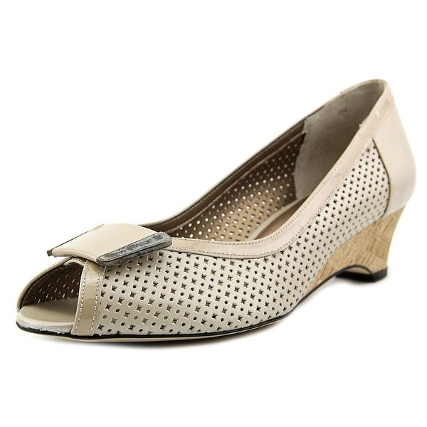 Vaneli Bonnee Open Toe Leather Wedge Heel