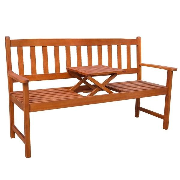 "vidaXL Garden Bench with Pop-up Table Acacia Wood - 62"" x 22"" x 34.8"""