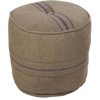 "18"" Taupe and Purple Striped Houndstooth Jute Round Pouf Ottoman"