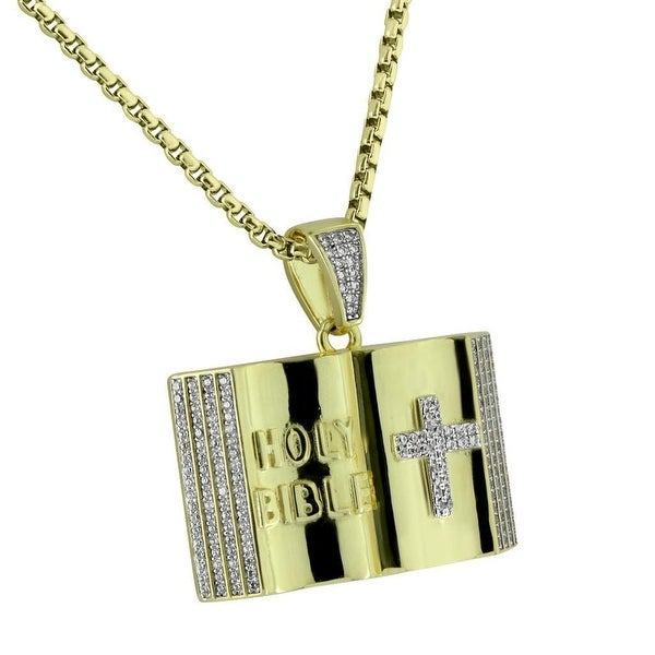 Holy Bible Pendant Cross Gold Tone Stainless Steel Box Necklace Micro Pave