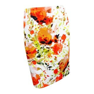 Kasper Women's Plus Size Floral-Print Scuba Pencil Skirt - velencia multi