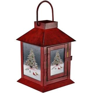 "6.4"" Red and White Christmas Tree Bird Gathering LED Lantern"