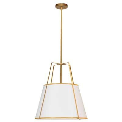 Dainolite Trapezoid Contemporary Gold Luxury Pendant Light Modern Pendant Light w/ White Tapered Drum Shade