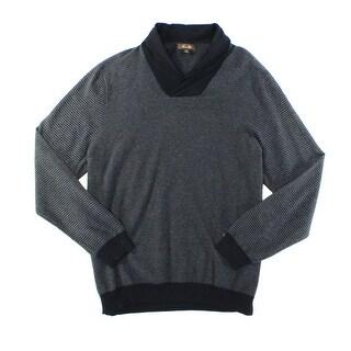 Tasso Elba NEW Black Mens Size 2XL Long Sleeve Shawl Collar Sweater