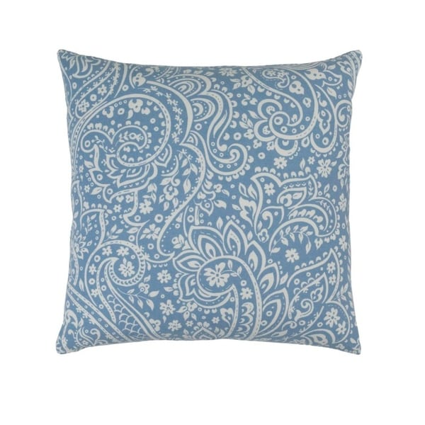 "18""Glacial Blue and Lily White Paisley Woven Decorative Throw Pillow"