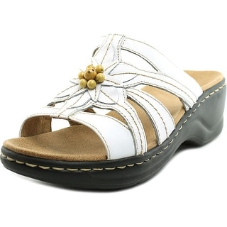 Clarks Lexi Myrtle Women W Open Toe Leather White Slides Sandal