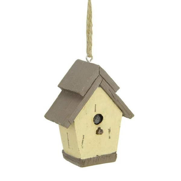 "2.5"" Brown and Tan Traditional Style Birdhouse Christmas Ornament"
