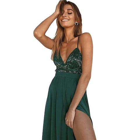 Yimeili Women's Sexy Deep V Neck Backless Split Maxi, Green Sequin, Size X-Large