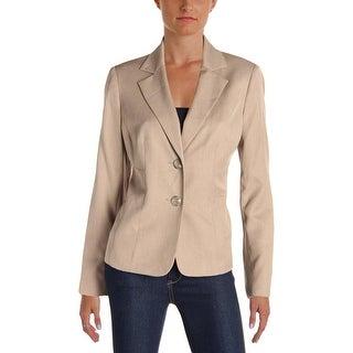 Le Suit Womens San Juan Two-Button Blazer Shantung Long Sleeves