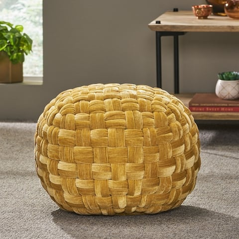 Negley Modern Glam Cable Weave Velvet Round Pouf by Christopher Knight Home