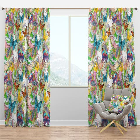 Designart 'Bohemian Colorfull Butterflies with Magic Flora' Floral Blackout Curtain Panel