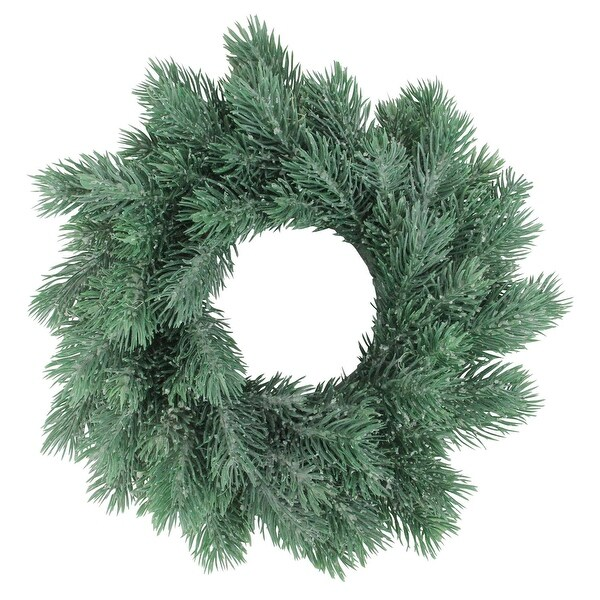 """10"""" Traditional Frosted Green Pine Decorative Christmas Wreath"""