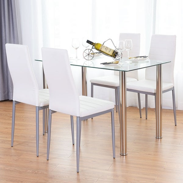 Shop Costway 5 Piece Dining Set Table And 4 Chairs Glass Metal