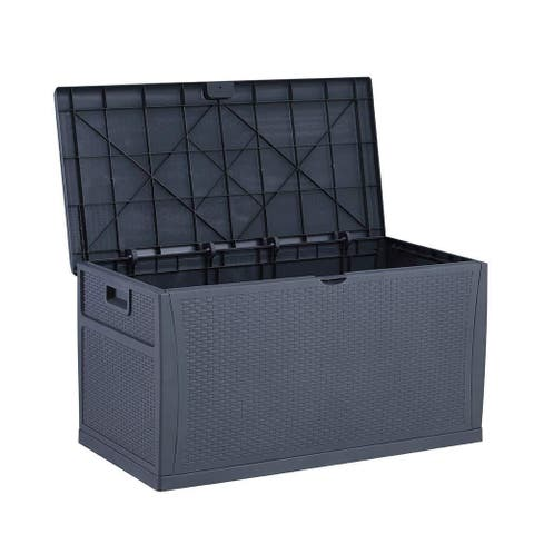 Zenova 120 Gallon Outdoor Patio Deck Storage Box UV-protected resin